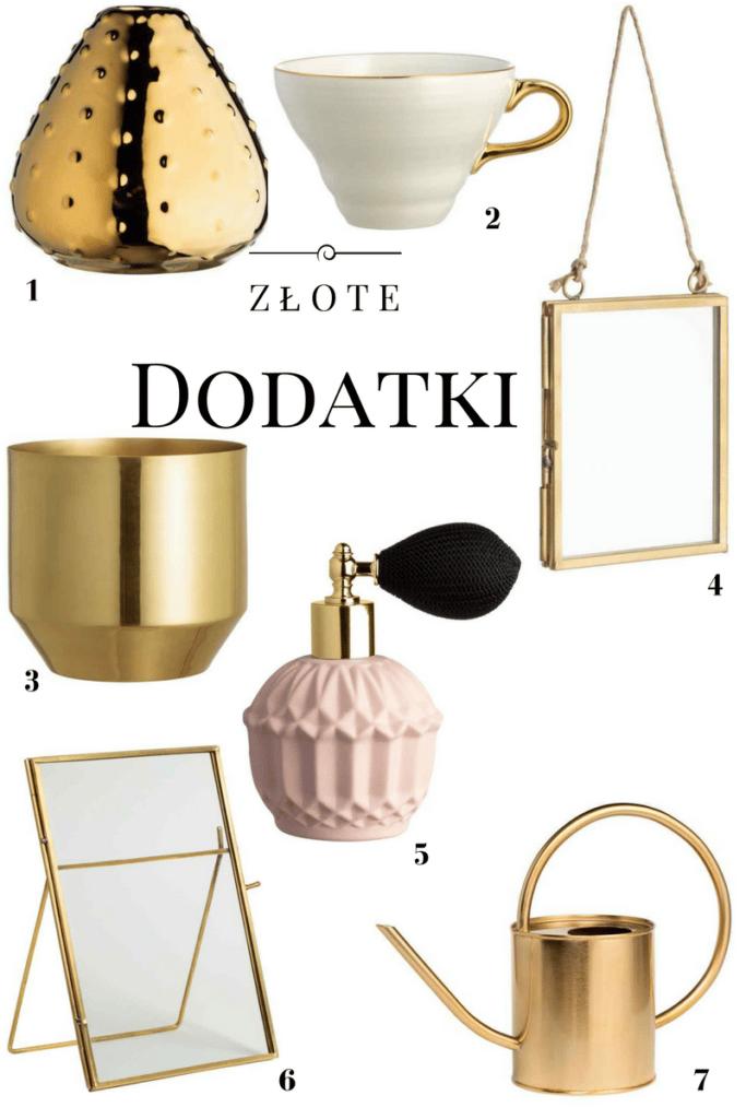 złoty wazon złota filiżanka złota konewka złota ramka złota doniczka złoty flakon na perfumy