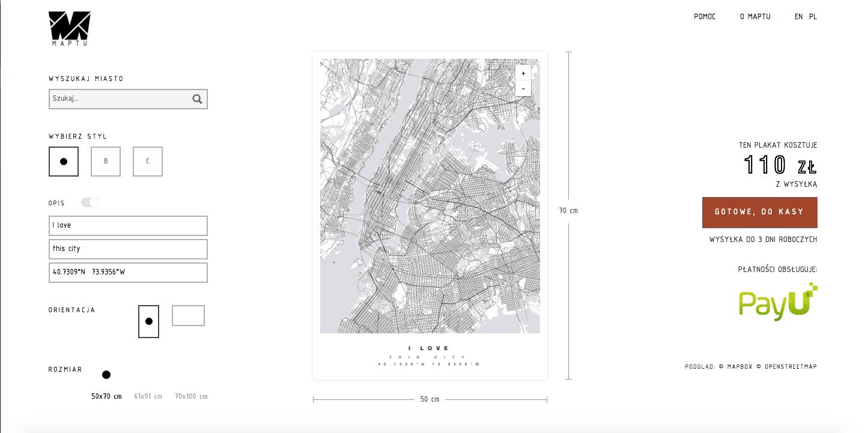 plakat mapa miasta maptu