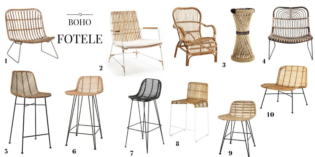 krzesło plecione hoker pleciony hoker z rattanu hoker z wikliny krzesło barowe boho