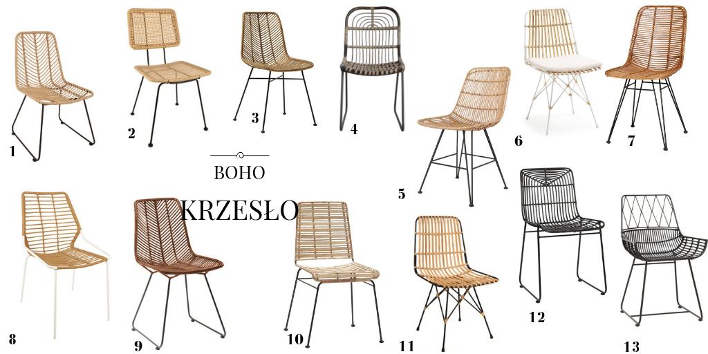 krzesło z wikliny krzesło w stylu boho krzesło wiklinowe