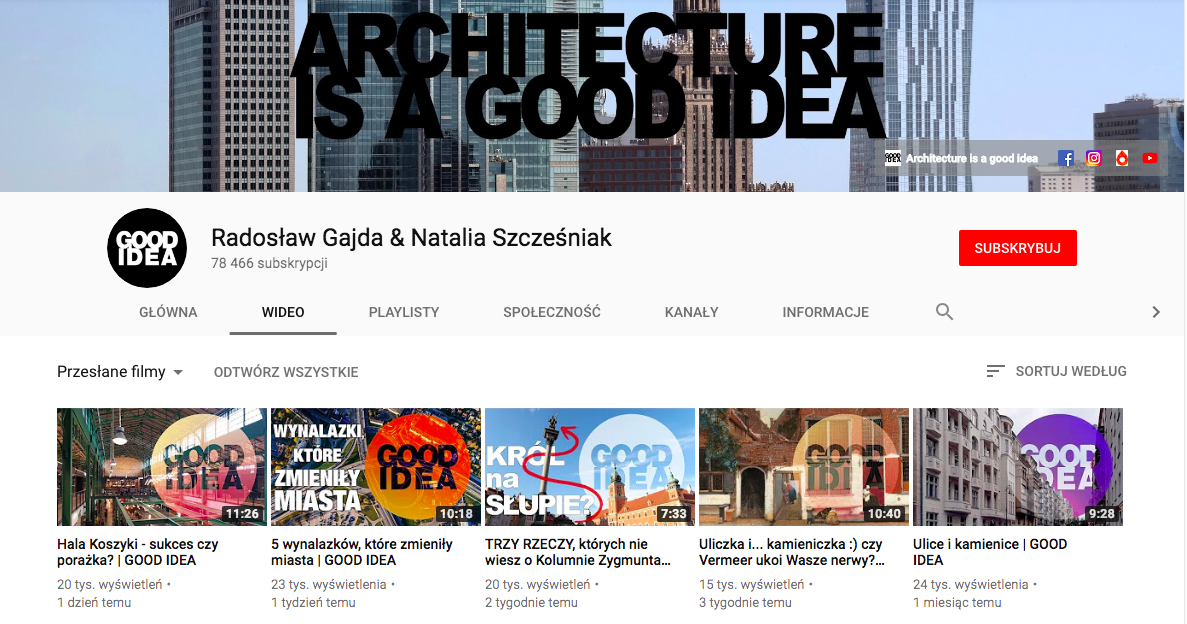 kanały na youtube o architekturze
