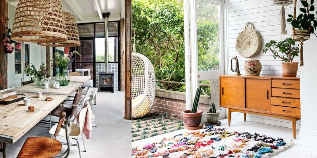 boho mieszkanie plecionka dywan