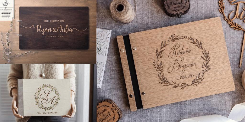 piękny album z drewna z grawerem prezent ślubny